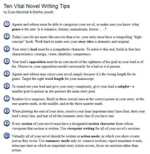 10 Tips for Novel Writers